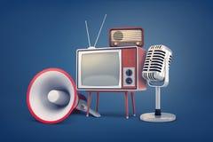 rappresentazione 3d della raccolta di parecchi pezzi di attrezzatura d'annata: una TV, una radio, un microfono e un megafono royalty illustrazione gratis