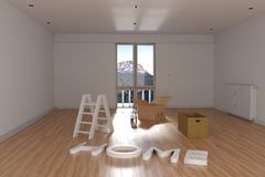 rappresentazione 3d della rilocazione Stanza vuota con la scatola di cartone e la La Fotografia Stock