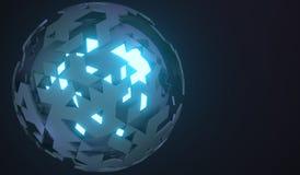 rappresentazione 3D della sfera con Shell rotto Immagini Stock