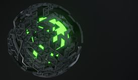 rappresentazione 3D della sfera con Shell rotto Immagini Stock Libere da Diritti