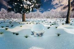 rappresentazione 3d della sfera di cristallo sul sunshi bianco della neve di mattina Immagine Stock