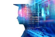 rappresentazione 3d della siluetta umana virtuale sul backgroun di tecnologia Immagine Stock Libera da Diritti