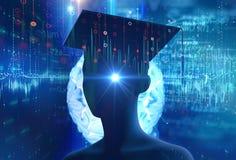 rappresentazione 3d della siluetta umana virtuale sul backgroun di tecnologia illustrazione di stock