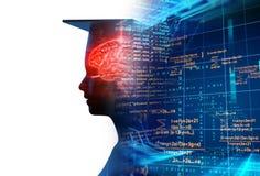 rappresentazione 3d della siluetta umana virtuale sul backgroun di tecnologia Immagini Stock