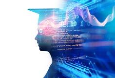 rappresentazione 3d della siluetta umana virtuale sul fondo di tecnologia Illustrazione di Stock