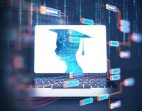 rappresentazione 3d della siluetta umana virtuale sullo schermo del computer portatile Fotografie Stock