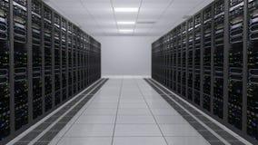 rappresentazione 3D della stanza del server con i computer funzionanti dei server di dati con il LED infiammante royalty illustrazione gratis