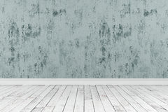 rappresentazione 3d della stanza pulita con i pavimenti di legno e di ruvido dipinto Immagini Stock Libere da Diritti
