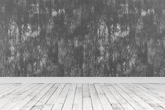 rappresentazione 3d della stanza pulita con i pavimenti di legno e di ruvido dipinto Fotografie Stock Libere da Diritti