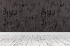 rappresentazione 3d della stanza vuota con i pavimenti di legno e di ruvido dipinto Fotografia Stock Libera da Diritti