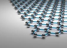 rappresentazione 3D della superficie di Graphene, legami del blu Fotografia Stock