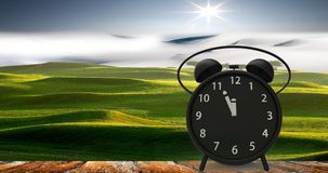 rappresentazione 3d della sveglia con i piccoli minuti al cloc del ` di dodici o Fotografie Stock