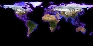 rappresentazione 3d della terra del pianeta Potete vedere i continenti, città Elementi di questa immagine ammobiliati dalla NASA Fotografia Stock Libera da Diritti