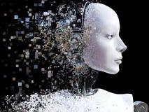 rappresentazione 3D della testa femminile del robot che si rompe fotografia stock