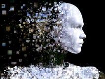 rappresentazione 3D della testa maschio del robot che si rompe fotografia stock libera da diritti