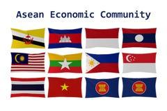 rappresentazione 3D delle bandiere di paese di ASEAN e della bandiera di CEA isolate illustrazione vettoriale