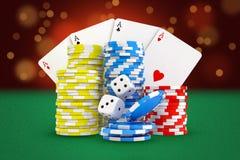 rappresentazione 3d delle carte di gioco, pile di chip del casinò e supporto dei dadi su fondo ritenuto verde illustrazione vettoriale