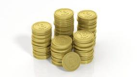 rappresentazione 3D delle pile dorate di Bitcoin Fotografia Stock Libera da Diritti