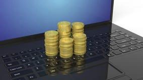 rappresentazione 3D delle pile dorate di Bitcoin sul computer portatile Immagini Stock Libere da Diritti