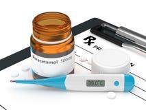 rappresentazione 3d delle pillole del paracetamolo con il termometro illustrazione vettoriale