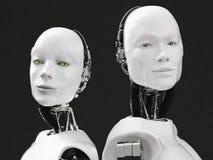 rappresentazione 3D delle teste di un robot femminile e maschio Fotografia Stock Libera da Diritti