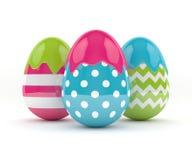 rappresentazione 3d delle uova eleganti di Pasqua con pittura Fotografia Stock Libera da Diritti