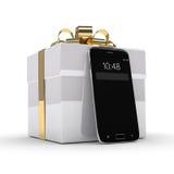 rappresentazione 3d dello smartphone con il contenitore di regalo sopra bianco Immagine Stock