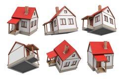 rappresentazione 3d di parecchie case leggendarie singole con le soffitte che appendono su un fondo bianco agli angoli della vist illustrazione vettoriale