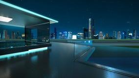 rappresentazione 3D di un balcone di vetro moderno con l'orizzonte della città Immagini Stock Libere da Diritti