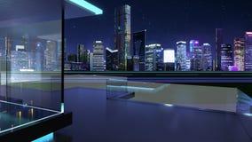 rappresentazione 3D di un balcone di vetro moderno con l'orizzonte della città Fotografia Stock Libera da Diritti