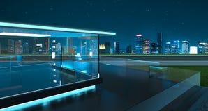 rappresentazione 3D di un balcone di vetro moderno con l'orizzonte della città Fotografie Stock