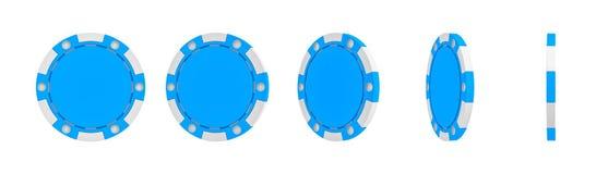 rappresentazione 3d di un chip blu singolo del casinò indicato nelle viste diverse dalla parte anteriore completa ad una vista la Immagini Stock