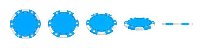 rappresentazione 3d di un chip blu singolo del casinò indicato nelle viste diverse dalla parte anteriore completa ad una vista la Immagine Stock