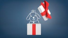 rappresentazione 3d di un contenitore di regalo bianco con un'apertura rossa dell'arco del nastro per rivelare un cucciolo teso g Fotografia Stock