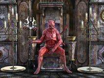 rappresentazione 3D di un diavolo che si siede su un trono Immagini Stock Libere da Diritti