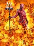 rappresentazione 3D di un diavolo nell'inferno Fotografia Stock
