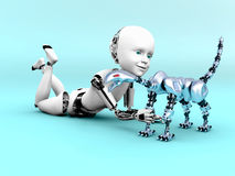 rappresentazione 3D di un gioco del bambino del robot Fotografia Stock