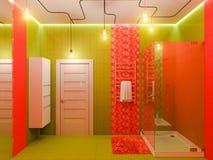 rappresentazione 3d di un interior design del bagno per i bambini immagini stock libere da diritti