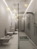 rappresentazione 3D di un interior design del bagno per i bambini Fotografia Stock Libera da Diritti