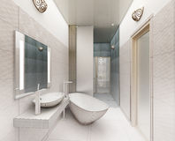 Rappresentazione 3D di un interior design moderno del bagno Fotografia Stock Libera da Diritti