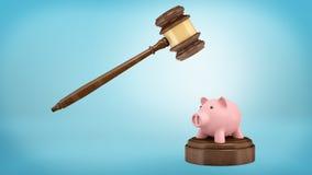 rappresentazione 3d di un martelletto grande del giudice pronto a colpire ad un piccolo porcellino salvadanaio che sta su un bloc Immagini Stock