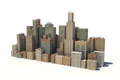 rappresentazione 3d di un paesaggio della città con gli edifici per uffici ed i grattacieli isolati su fondo bianco illustrazione di stock