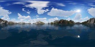 rappresentazione 3d di un panorama grande del lago delle montagne Fotografie Stock Libere da Diritti