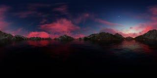 rappresentazione 3d di un panorama grande del lago delle montagne Fotografia Stock