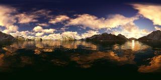 rappresentazione 3d di un panorama grande del lago delle montagne Immagine Stock