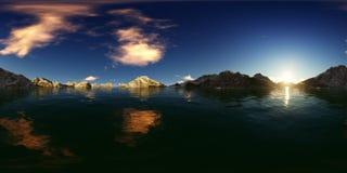 rappresentazione 3d di un panorama grande del lago delle montagne Immagine Stock Libera da Diritti