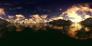 rappresentazione 3d di un panorama grande del lago delle montagne Fotografia Stock Libera da Diritti