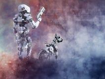 rappresentazione 3D di un poliziotto futuristico del robot con il cane illustrazione vettoriale