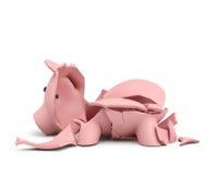 rappresentazione 3d di un porcellino salvadanaio ceramico rosa completamente rotto su in parecchi grandi pezzi Fotografia Stock