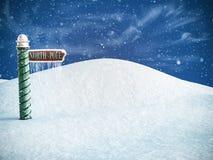 rappresentazione 3D di un segno del polo nord che indica il posto in cui potete trovare Santa Neve nell'aria e nei ghiaccioli che fotografia stock